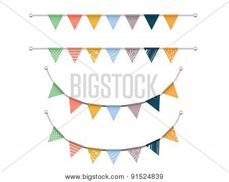 Earth Tone Bunting Flags Vector Set
