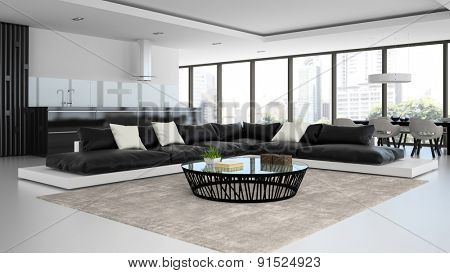 Interior modern design room with black and white sofas 3D rendering