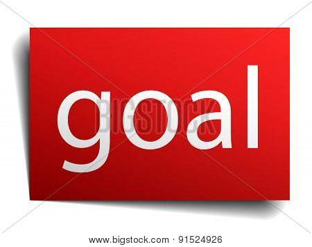 Goal Red Square Isolated Paper Sign On White