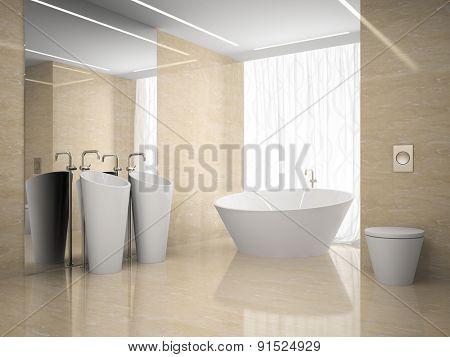 Interior of the modern design  bedroom in marble 3D rendering