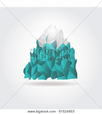 Iceberg icon on white background. Vector mountain logo sign.