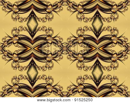 Flower Pattern In Fractal Design. Beige And Brown Palette. Computer Generated Graphics.
