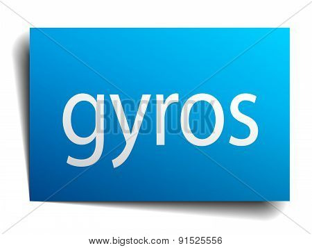 Gyros Blue Paper Sign On White Background