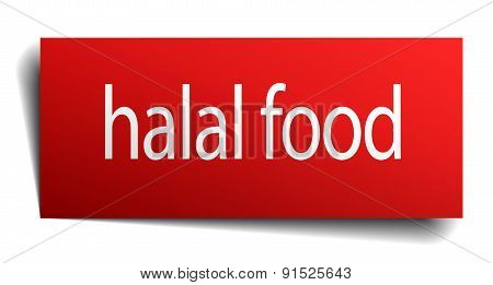 Halal Food Red Square Isolated Paper Sign On White