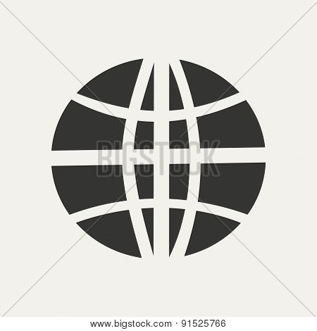 Flat in black and white mobile application earth