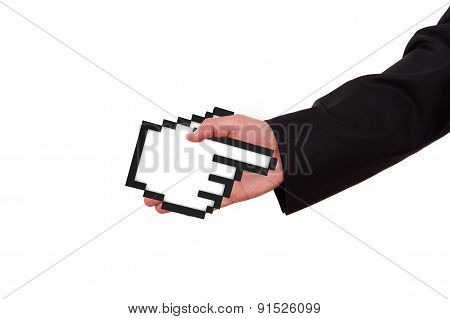 Businessman Extends Hand With Mouse Cursor