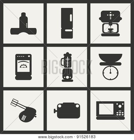 Flat in black and white concept mobile application kitchen appliances