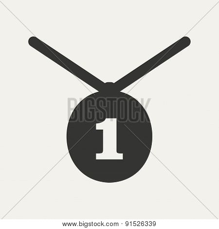 Flat in black and white mobile application medal