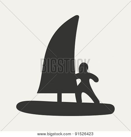 Flat in black and white mobile application windsurfing