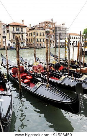 Row Of Gondolas On The Grande Canal, Venice