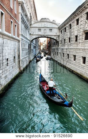 Gondola Approaching The Bridge Of Sighs, Venice