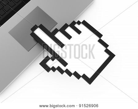 Hand Cursor Touching Touchpad