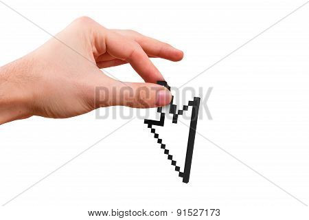 Hand Holding Arrow Cursor