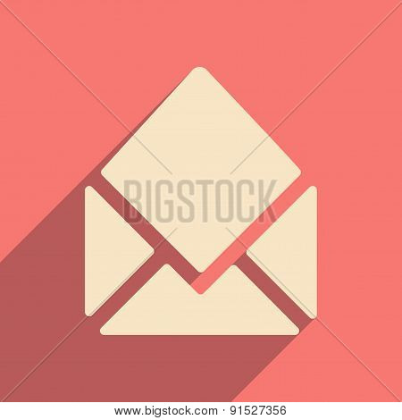 Flat with shadow icon and mobile applacation open envelope