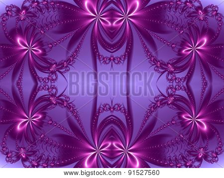 Flower Pattern In Fractal Design. Violet And Purple Palette. Computer Generated Graphics.