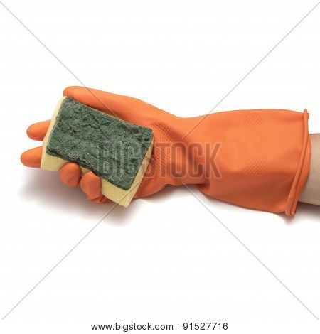 Hand In Cleaning Glove And Sponge