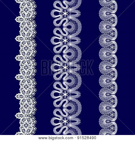 Set Of White Lace Ribbons