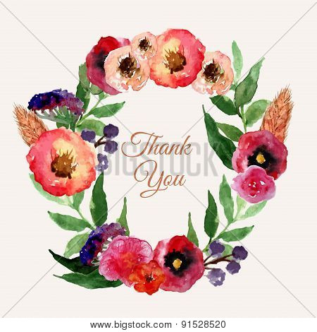 Vector watercolor floral wreath set with vintage leaves and flowers. Artistic vector design for bann