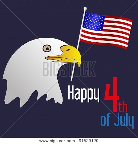 American Independence Day Celebration With Eagle And Flag Eps10
