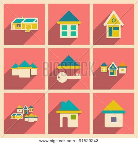 Flat with shadow concept and mobile application houses icons