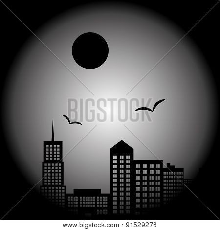 Dark City Landscape In Night With Birds And Moon Eps10