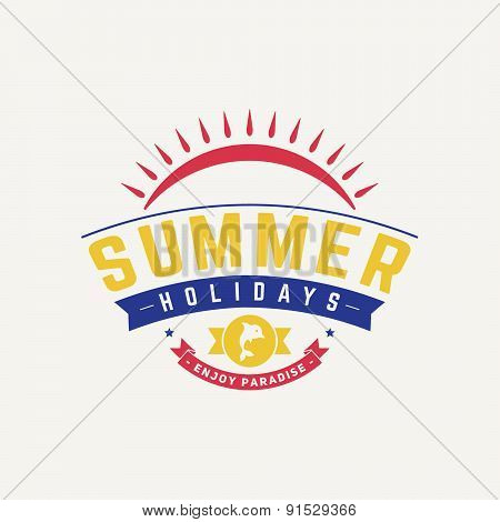 Retro Summer Travel Badge or Label. Vector Design Element