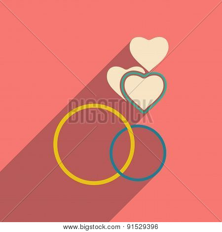 Flat with shadow icon and mobile applacation rings heart