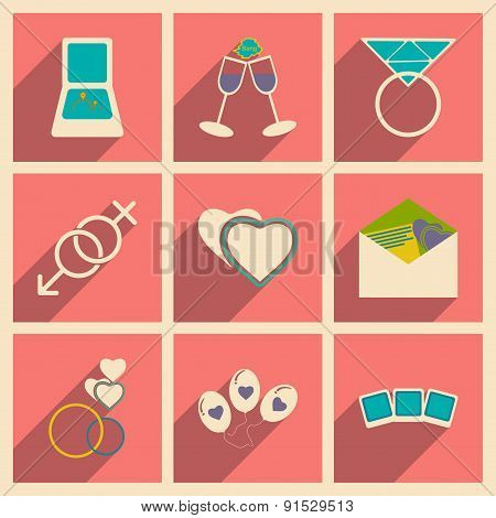 Flat with shadow concept and mobile application wedding icons