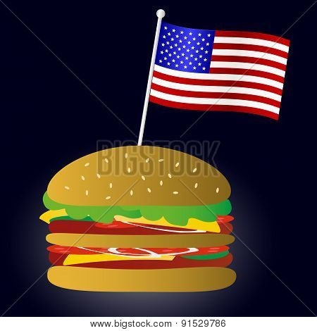 Fastfood Hamburger And Usa Flag Symbol Eps10