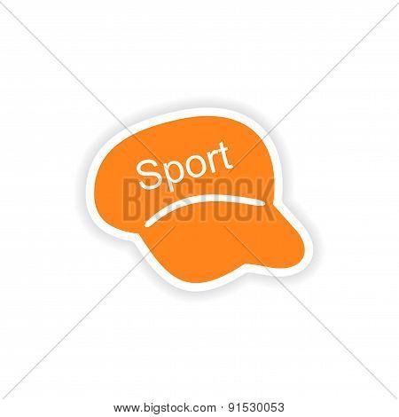 icon sticker realistic design on paper cap sport