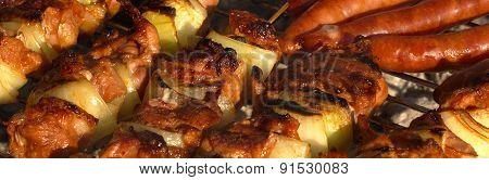 Shish Kebabs On Barbecue