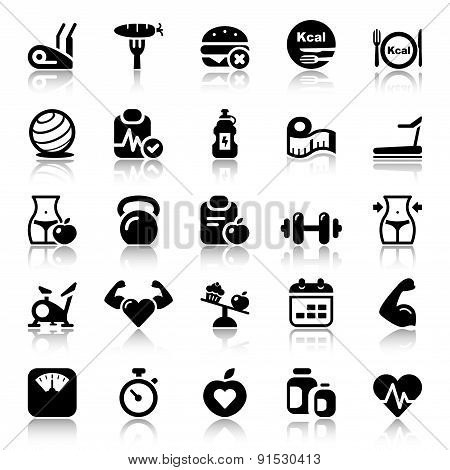 Fitness & Health Iconset Black Reflex
