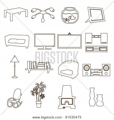 Living Room Simple Outline Icons Set Eps10