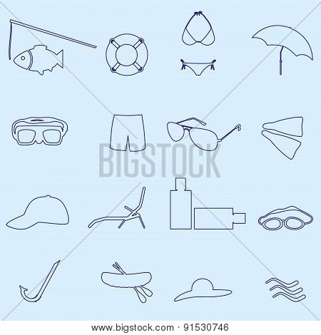 Summer And Beach Blue Outline Icons Set Eps10