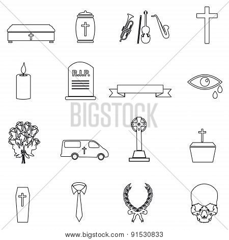 Funeral Simple Black Outline Icons Set Eps10