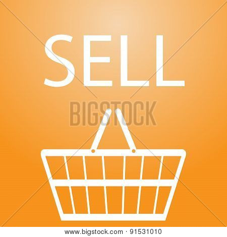Sell Slogan And Shopping Basket Symbol Eps10