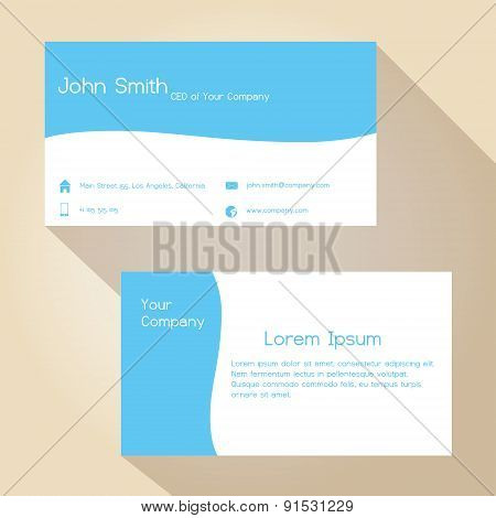 Blue And White Simple Business Card Design Eps10