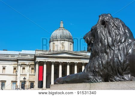 National Gallery London With Bronze Lion