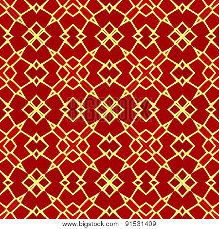 Kaleidoscopic Mosaic Red Tile Pattern Made Seamless