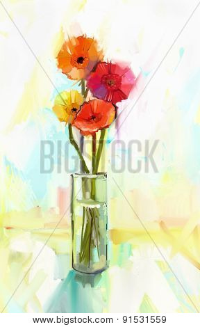 Oil Painting  Bouquet Of Yellow And Red Gerbera Flowers In Glass Vase