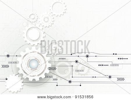 Vector Illustration Abstract Futuristic, White Gear Wheel On Circuit Board