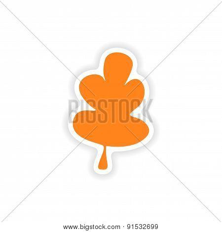 icon sticker realistic design on paper oak leaf