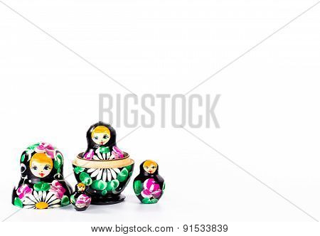 isolated set of four dark disassembled dolls