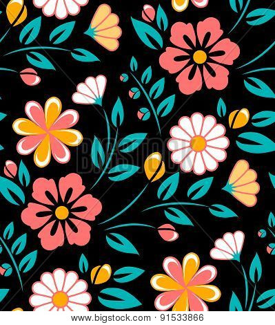 Seamless spring flower pattern on black background. Ukrainian style