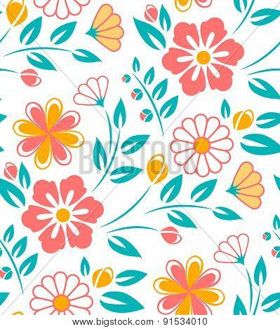 Seamless flower pattern on white background. Ukrainian style