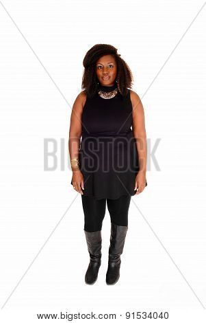 African Woman Standing In Boots.