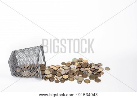 isolated fallen money basket with golden coins