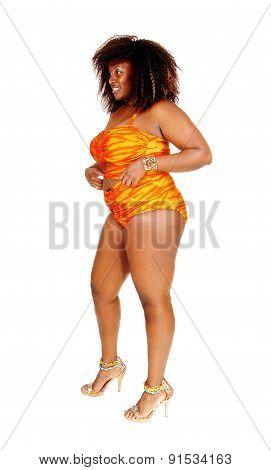 African Woman In Bikini In Profile.