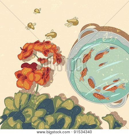 Vector Illustration  With Flowers And Fishes