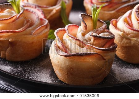 Festive Pastries: Rose Out Of An Apple Macro. Horizontal